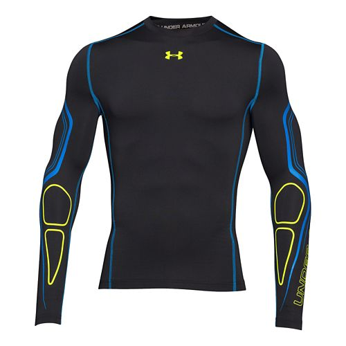 Mens Under Armour Coldgear Armour Graphic Compression Crew 2 Long Sleeve No Zip Technical Tops ...