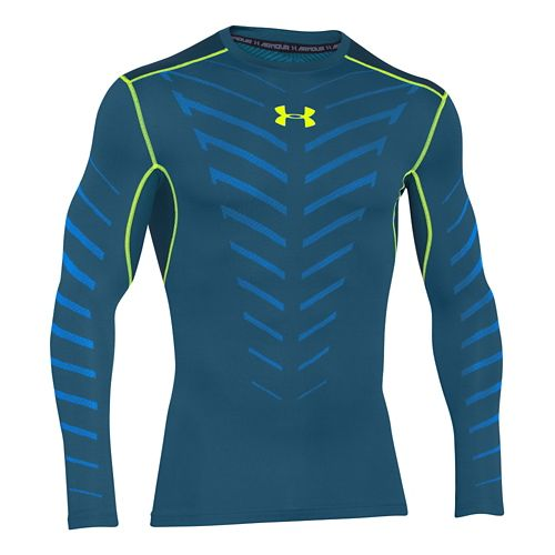 Mens Under Armour Coldgear Infrared Armour Compression Crew Long Sleeve No Zip Technical Tops - ...