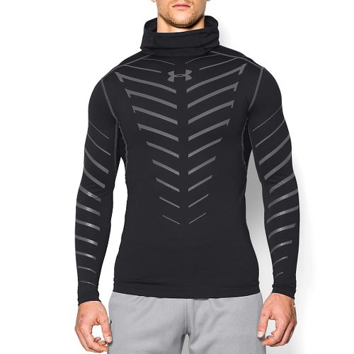 Mens Under Armour Coldgear Infrared Armour Compression Warm Up Hooded Jackets - Black/Steel M