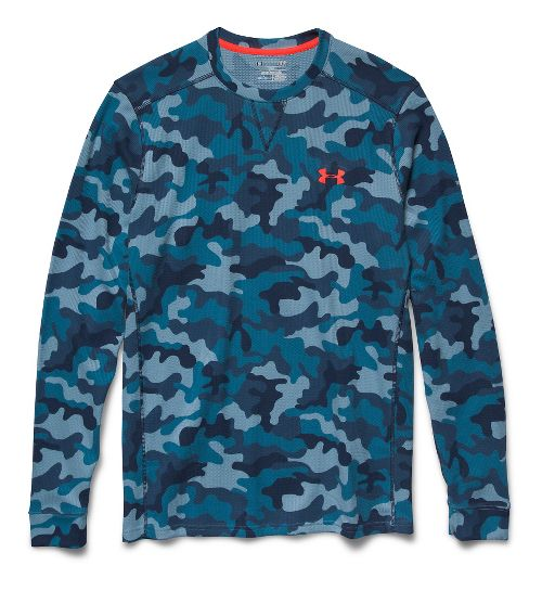 Mens Under Armour Amplify Camo Thermal Crew Long Sleeve No Zip Technical Tops - Solder/Academy XL