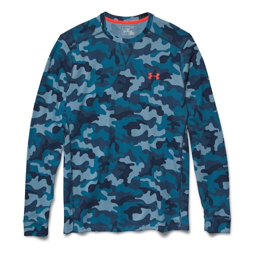 Mens Under Armour Amplify Camo Thermal Crew Long Sleeve No Zip Technical Tops - Solder/Academy L