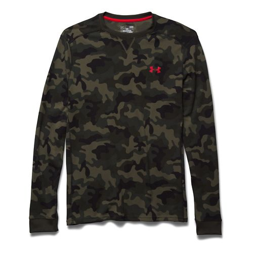 Mens Under Armour Amplify Camo Thermal Crew Long Sleeve No Zip Technical Tops - Rough/Black M