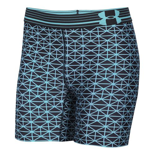 Womens Under Armour HeatGear Compression Printed Mid Unlined Shorts - Black/Veneer S