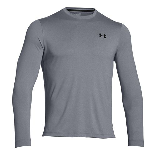 Mens Under Armour ColdGear Infrared Crew Long Sleeve Technical Tops - Steel/Black XXL