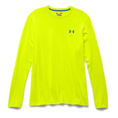 Mens Under Armour ColdGear Infrared Crew Long Sleeve Technical Tops - Yellow/Blue Jet S