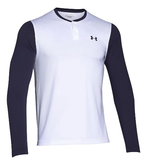 Mens Under Armour ColdGear Infrared Henley Long Sleeve Technical Tops - White/Midnight Navy M