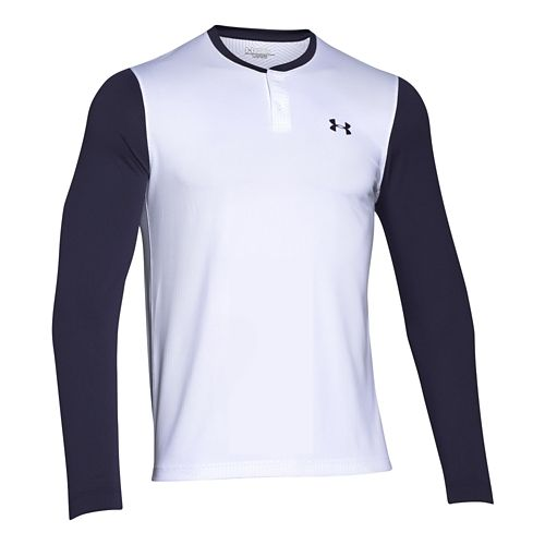 Mens Under Armour ColdGear Infrared Henley Long Sleeve Technical Tops - White/Midnight Navy L