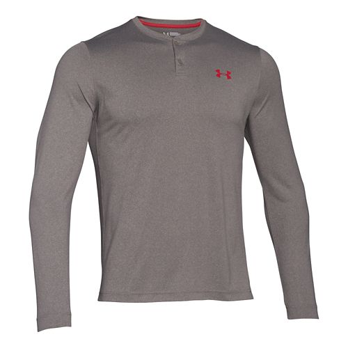 Mens Under Armour ColdGear Infrared Henley Long Sleeve Technical Tops - Tan Stone/Red S