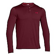 Mens Under Armour ColdGear Infrared Henley Long Sleeve Technical Tops - Deep Red/Red XXL