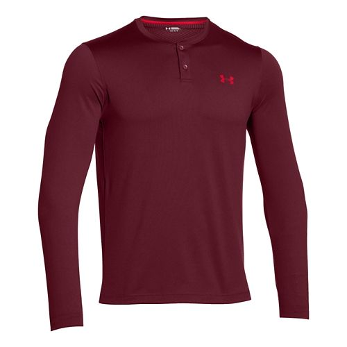 Mens Under Armour ColdGear Infrared Henley Long Sleeve Technical Tops - Deep Red/Red M