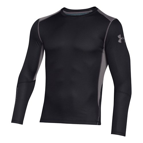 Mens Under Armour Coldgear Infrared Grid Crew Long Sleeve No Zip Technical Tops - ...
