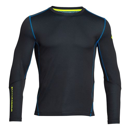 Mens Under Armour Coldgear Infrared Grid Crew Long Sleeve No Zip Technical Tops - Black/Yellow ...