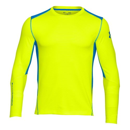 Mens Under Armour Coldgear Infrared Grid Crew Long Sleeve No Zip Technical Tops - Yellow/Blue ...