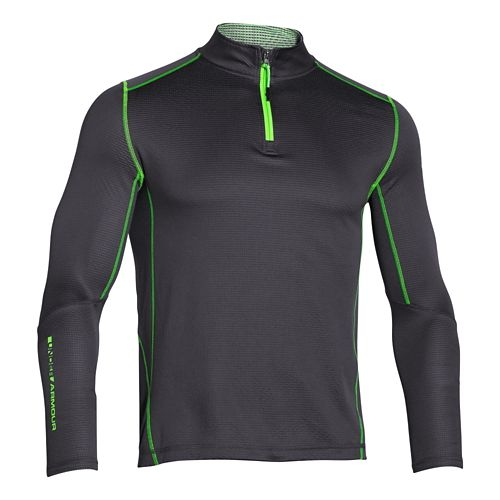 Mens Under Armour Coldgear Infrared Grid Mock Long Sleeve Half Zip Technical Tops - Stealth ...