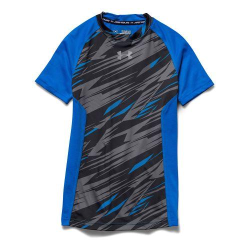 Kids Under Armour HeatGear Up Printed Fitted Shirt Short Sleeve Technical Tops - Blue Jet/Grey ...