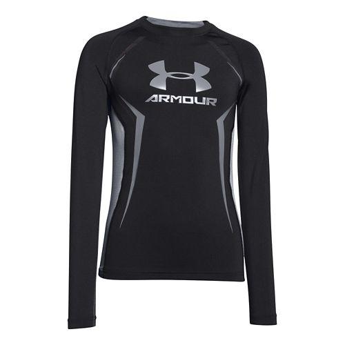 Kids Under Armour HeatGear Up Fitted Shirt Long Sleeve No Zip Technical Tops - Black ...