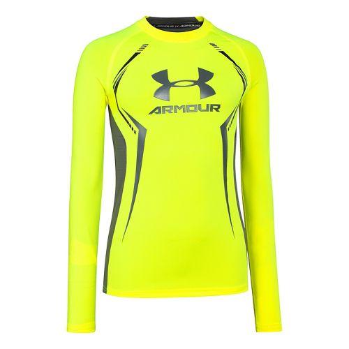 Kids Under Armour HeatGear Up Fitted Shirt Long Sleeve No Zip Technical Tops - High ...