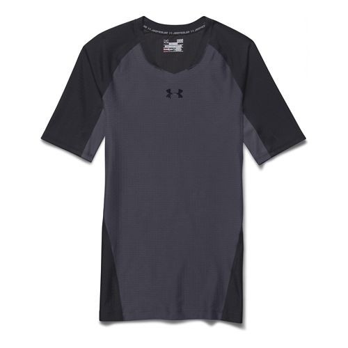 Mens Under Armour Clutchfit 2.0 T Short Sleeve Technical Tops - Stealth Grey/Black L