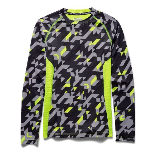 Kids Under Armour HeatGear Up Printed Fitted Shirt Long Sleeve No Zip Technical Tops - ...
