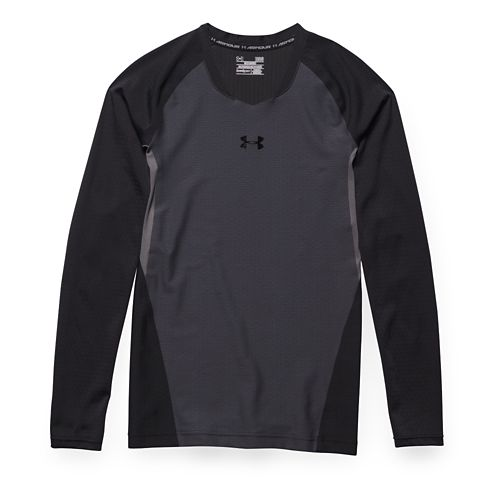 Mens Under Armour Clutchfit 2.0 T Long Sleeve No Zip Technical Tops - Stealth Grey/Black ...