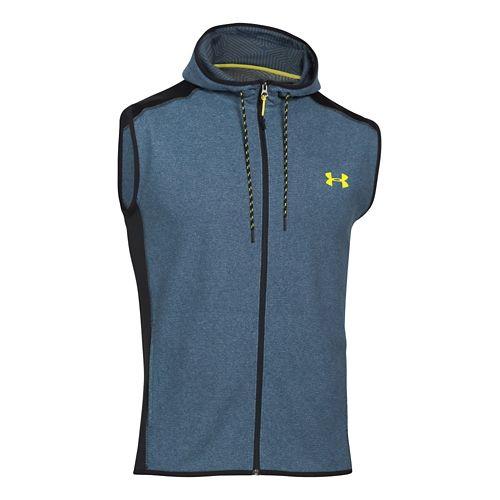 Mens Under Armour Coldgear Infrared Survival Fleece Outerwear Vests - Blue/Sunbleached M