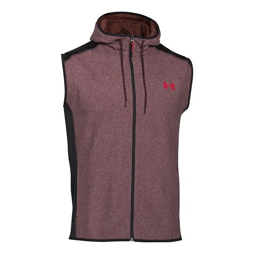 Mens Under Armour Coldgear Infrared Survival Fleece Outerwear Vests - Deep Red/Red XL