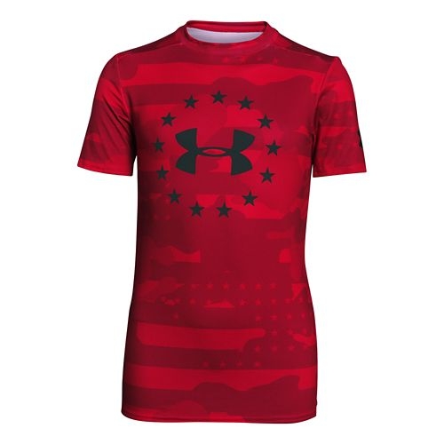 Kids Under Armour Freedom Armour Fitted Shirt Short Sleeve Technical Tops - Red/Black YM