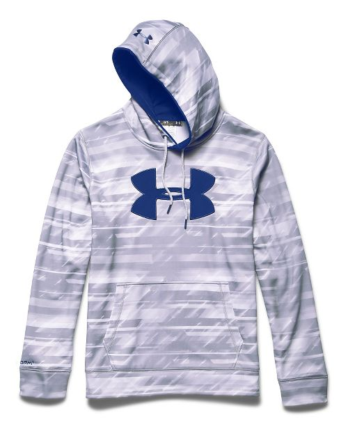 Mens Under Armour Storm Armour Fleece Big Logo Printed Hoody Outerwear Jackets - White/Academy L