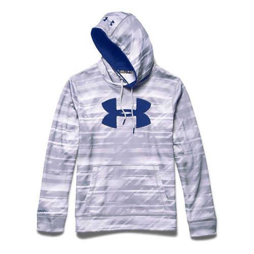 Mens Under Armour Storm Armour Fleece Big Logo Printed Hoody Outerwear Jackets - White/Academy ...