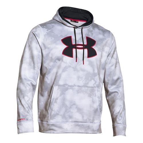 Mens Under Armour Storm Armour Fleece Big Logo Printed Hoody Outerwear Jackets - White/Red 3XL ...