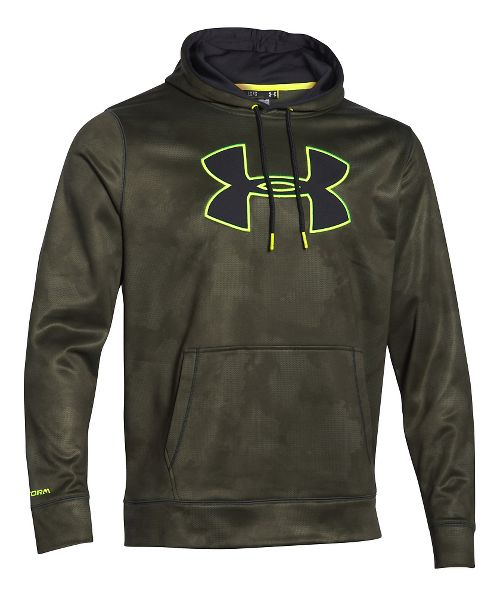 Mens Under Armour Storm Armour Fleece Big Logo Printed Hoody Outerwear Jackets - Green/Yellow XL
