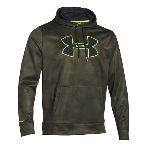 Mens Under Armour Storm Armour Fleece Big Logo Printed Hoody Outerwear Jackets - Green/Yellow L ...