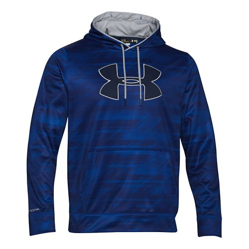 Mens Under Armour Storm Armour Fleece Big Logo Printed Hoody Outerwear Jackets - Cobalt/Grey M ...