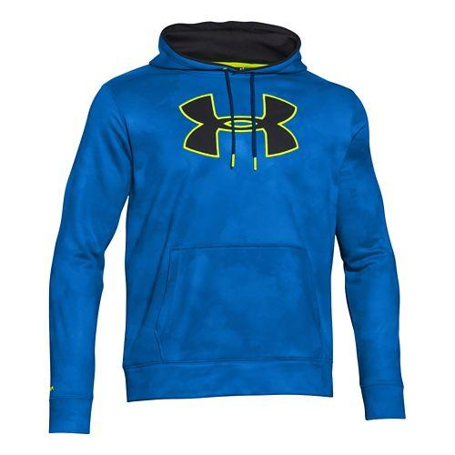 Mens Under Armour Storm Armour Fleece Big Logo Printed Hoody Outerwear Jackets - Blue/Yellow XL ...