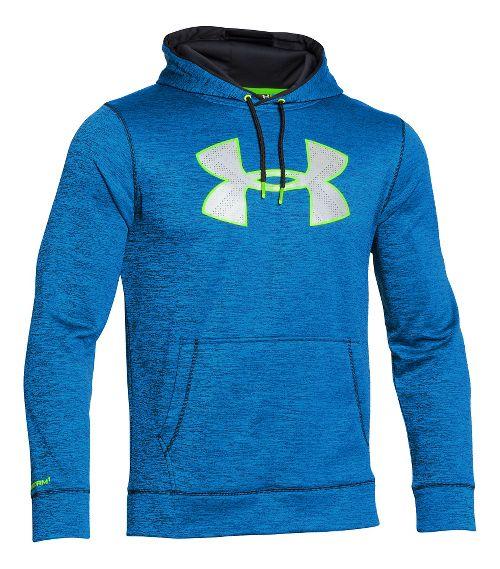 Mens Under Armour Storm Armour Fleece Big Logo Twist Hoodie & Sweatshirts Technical Tops - Blue ...