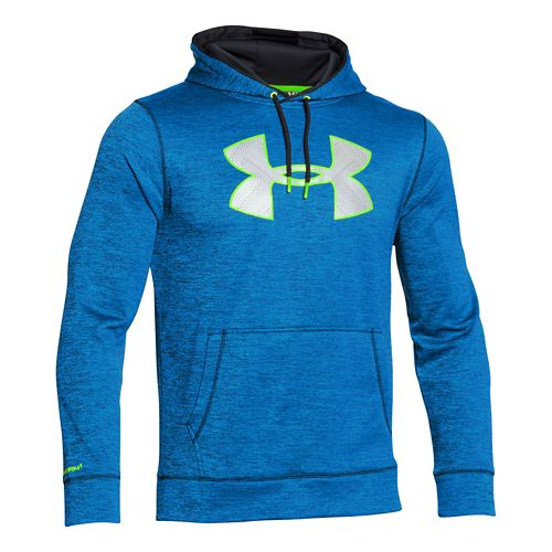 Mens Under Armour Storm Armour Fleece Big Logo Twist Hoody Outerwear Jackets - Blue Jet/Yellow ...