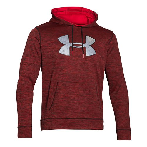 Mens Under Armour Storm Armour Fleece Big Logo Twist Hoodie & Sweatshirts Technical Tops - Red L