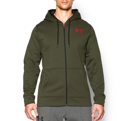 Mens Under Armour Storm Armour Fleece Zip Hoody Outerwear Jackets - Greenhead/Red L