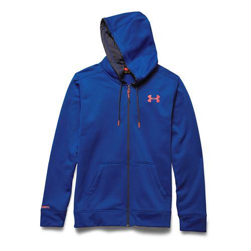 Mens Under Armour Storm Armour Fleece Zip Hoody Outerwear Jackets - Cobalt/Orange 3XL