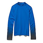 Kids Under Armour ColdGear Branded Fitted Mock Long Sleeve No Zip Technical Tops
