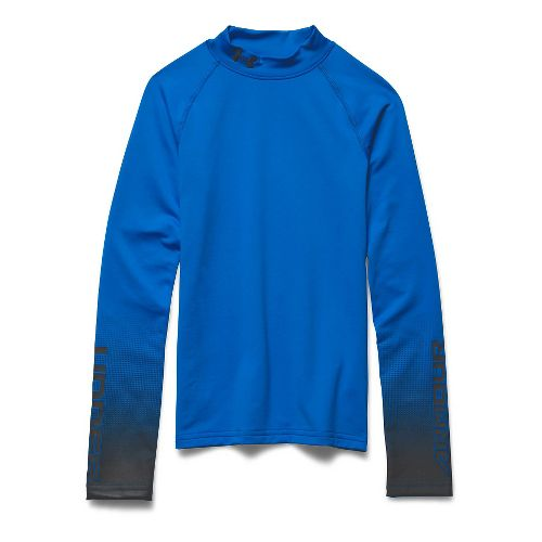 Under Armour Boys ColdGear Branded Fitted Mock Long Sleeve No Zip Technical Tops - Blue ...