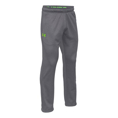 Mens Under Armour Fleece In The Zone Full Length Pants - Heather/Hyper Green M-T