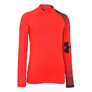 Kids Under Armour ColdGear Big Logo Fitted Mock Long Sleeve No Zip Technical Tops