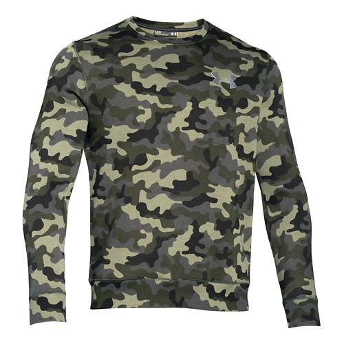 Mens Under Armour Rival Cotton Novelty Crew Long Sleeve No Zip Technical Tops - Rough/Steel ...