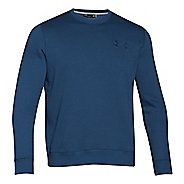 Mens Under Armour Rival Cotton Novelty Crew Long Sleeve No Zip Technical Tops