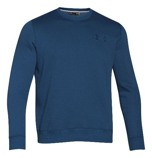 Mens Under Armour Rival Cotton Novelty Crew Long Sleeve No Zip Technical Tops - Petrol ...