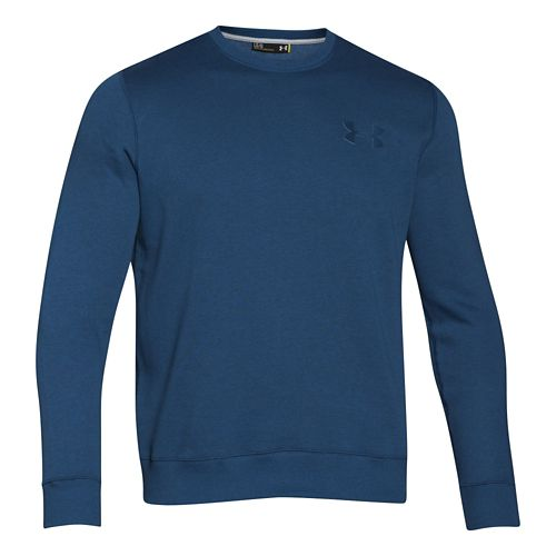 Mens Under Armour Rival Cotton Novelty Crew Long Sleeve No Zip Technical Tops - Petrol Blue/Black M