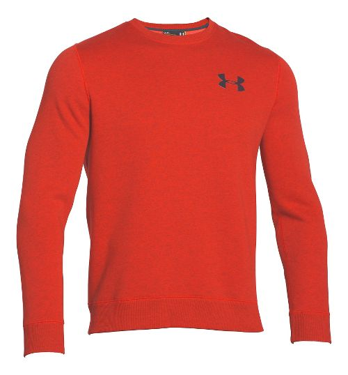 Mens Under Armour Rival Cotton Novelty Crew Long Sleeve No Zip Technical Tops - Fuego/Stealth ...