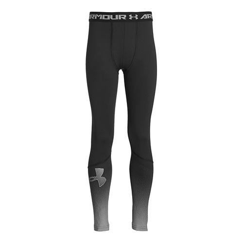 Under Armour Boys ColdGear Big Logo Fitted Legging Full Length Tights - Black/Steel YXL