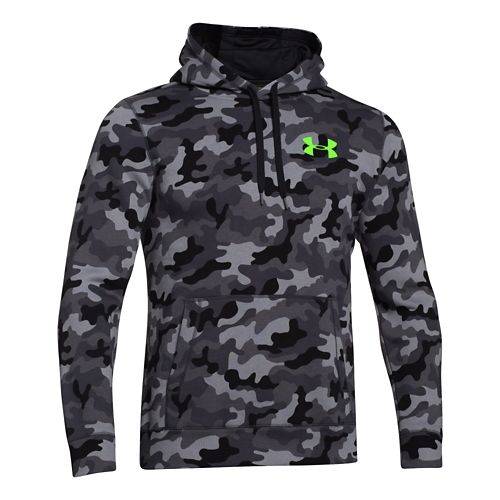 Mens Under Armour Rival Cotton Novelty Hoody Outerwear Jackets - Steel/Hyper Green M